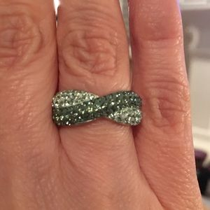 Sterling silver two tone green CZ ring